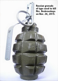 Grenade used to kill  Oksana Bobrovskaya, Russian M.P.
