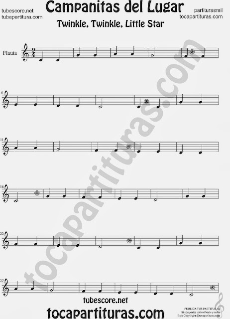 Partitura de Campanitas del Lugar para Flauta Travesera, flauta dulce y flauta de pico Villancico Christmas Carol Song Twinkle twinkle little Sheet Music for Flute and Recorder Music Scores