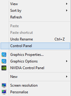 Control Panel in Context Menu