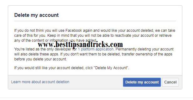 Delete Permanently FB account