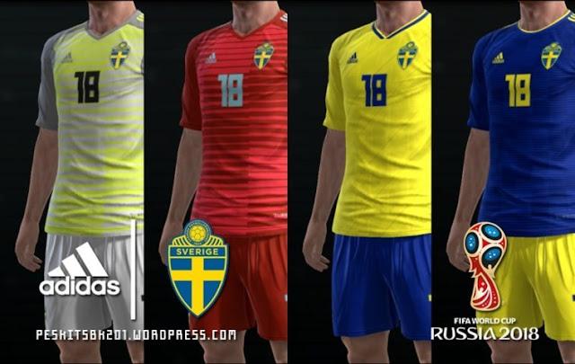 Sweden 2018 World Cup Kits PES 2013