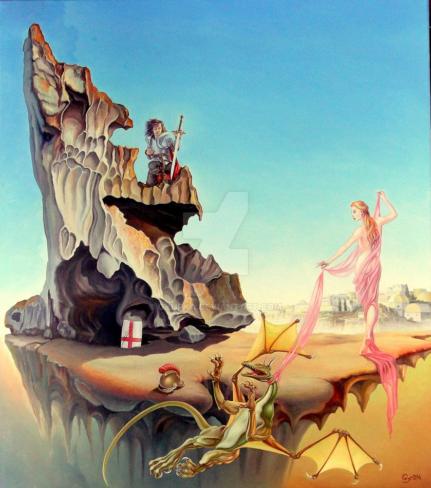 13-Training-The-Dragon-Gyuri-Lohmuller-Complex-Surreal-Paintings-that-make-you-Think-www-designstack-co