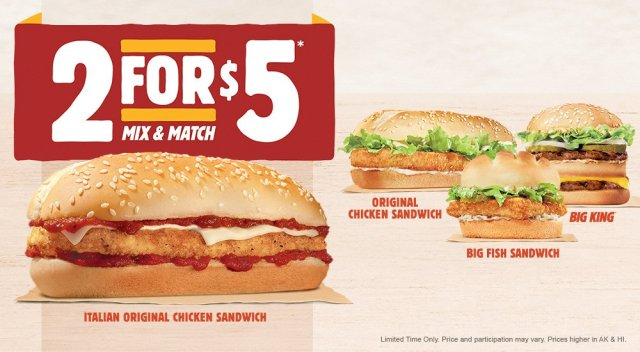 The italian original chicken sandwich returns to burger for Burger king big fish