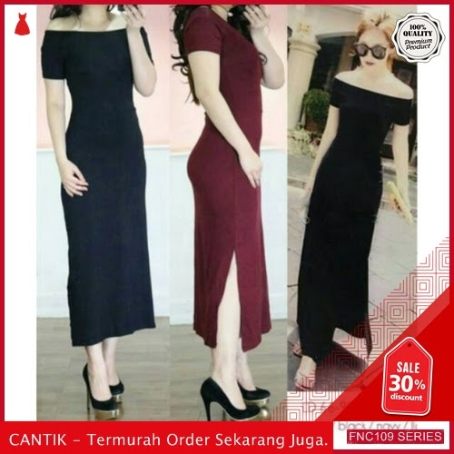 FNC109C35 Comfy Slim Long Dress Wanita Sabrina murah Serba 40 Ribuan