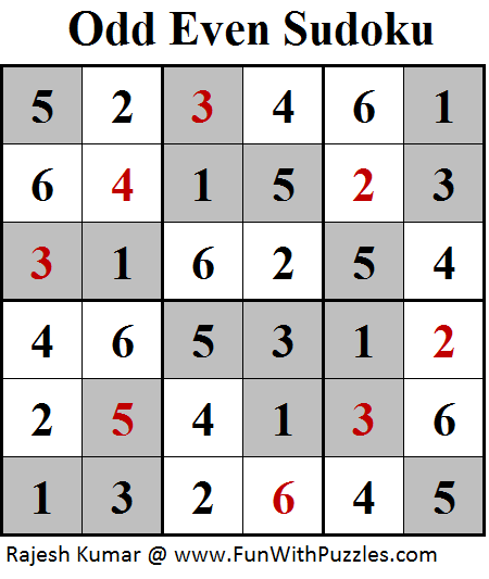 Odd Even Sudoku (Mini Sudoku Series #98) Solution