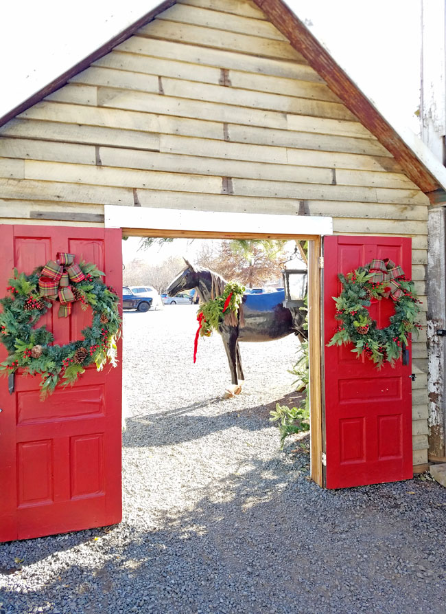 Red Barn door with horse sleight