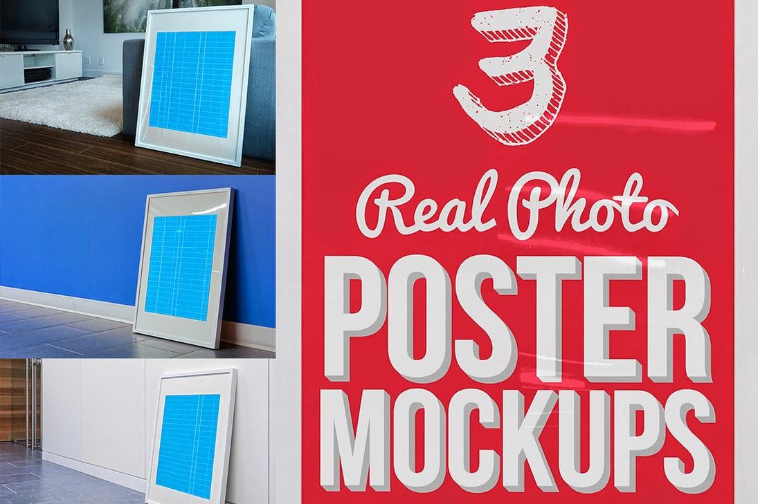 3 Real Photo Poster Mockups PSD