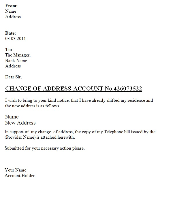 Change Of Address Letter To The Bank ~ Template Sample