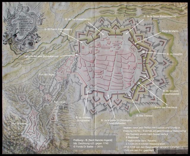 Freiburg im Breisgau — Plan manuscrit - Manuskript Plan, (1740)