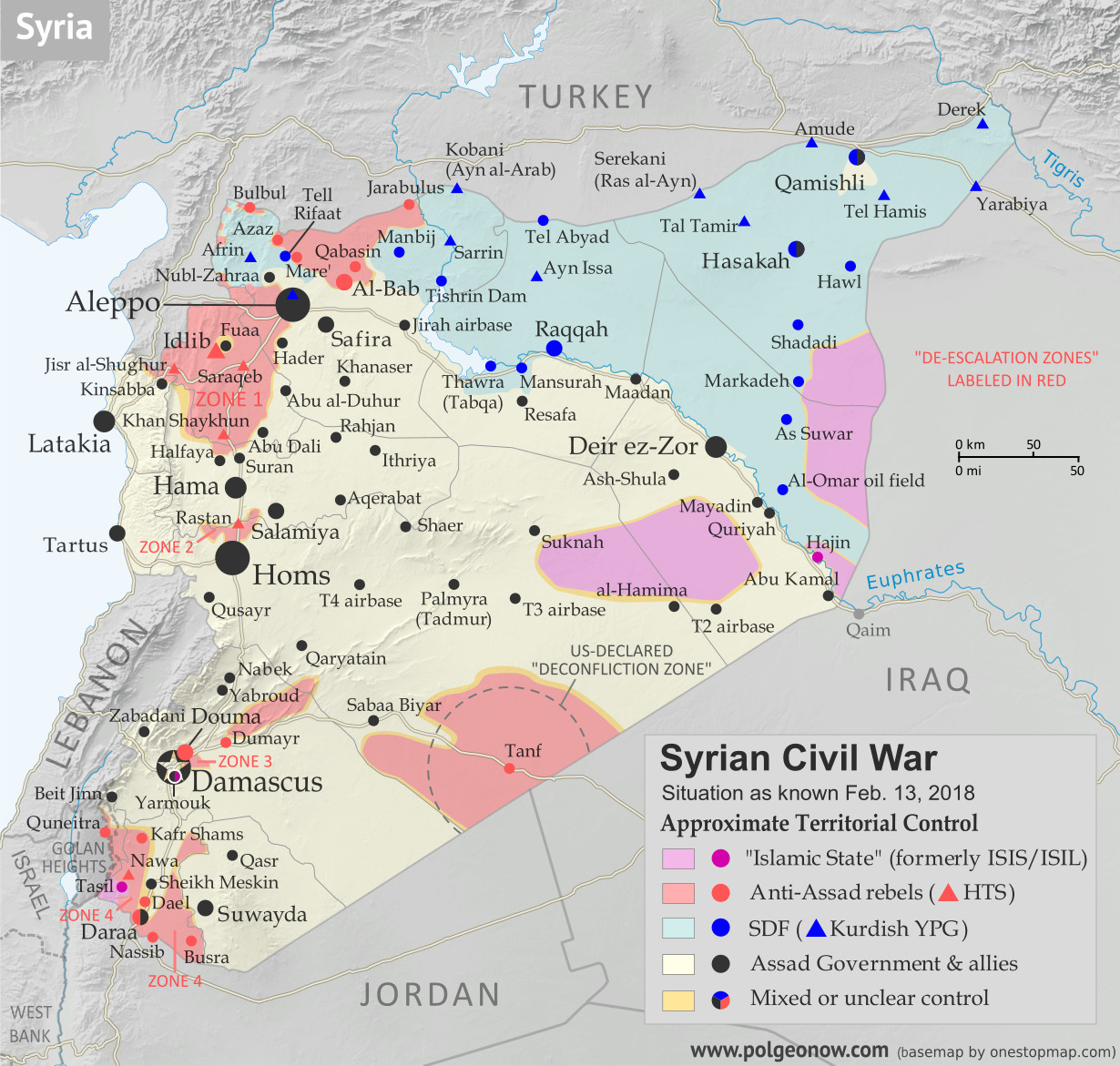 Who controls what in Syria? Rebel and ISIS control map of the Syrian Civil War. Shows territorial control as of February 2018 (Free Syrian Army rebels, Kurdish YPG, Syrian Democratic Forces (SDF), Jabhat Fateh al-Sham / Hayat Tahrir al-Sham (Al-Nusra Front), Islamic State (ISIS/ISIL), and others). Includes Russia-Turkey-Iran agreed de-escalation zones and US deconfliction zone, plus recent locations of conflict and territorial control changes, such as Abu al-Duhur, Bulbul, Saraqeb, and more. Colorblind accessible.