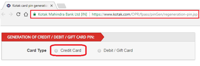 how to generate atm pin for kotak credit card