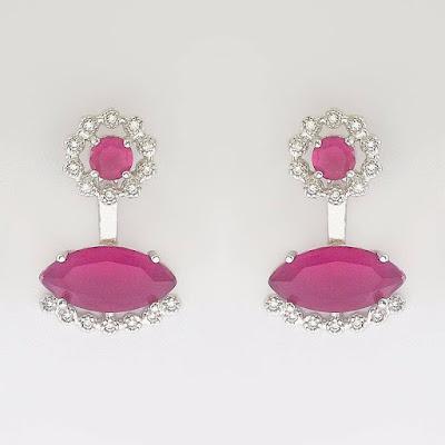 Brinco Flor Ear Jacket Cristal Rosa e Zircônias Banhado em Ródio