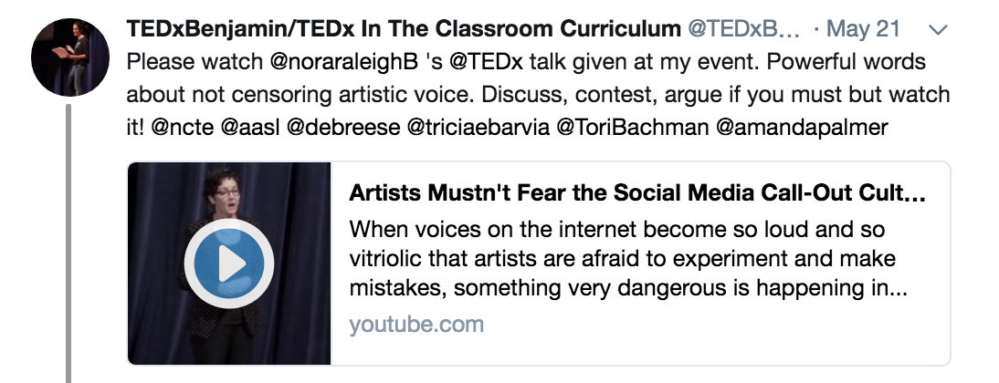 On May 21 2018 Writer Nora Raleigh Baskin Did A Ted Talk I Was Tagged By The Person Who Loaded To YouTube