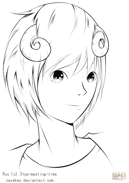 Click The Ryo Anime Boy By Zavekey Coloring Pages