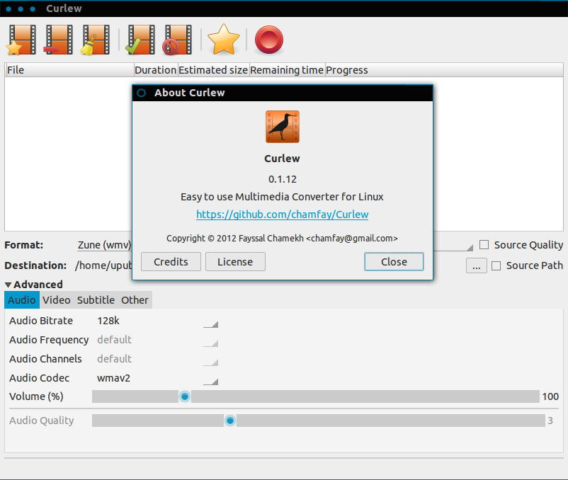 Install Curlew Multimedia Converter from PPA in Ubuntu/Linux Mint