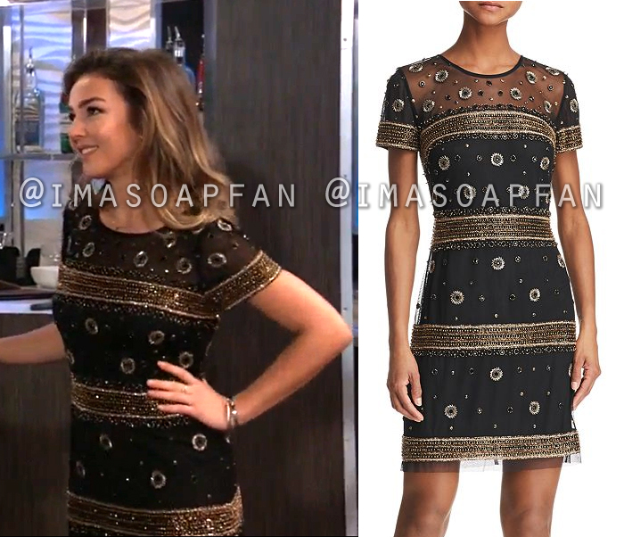 Kristina Corinthos Davis, Lexi Ainsworth, Black Cocktail Dress with Gold Beaded Stripes and Dots, General Hospital, GH