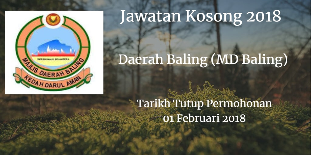 Jawatan Kosong Daerah Baling (MD Baling) 01 Februari 2018