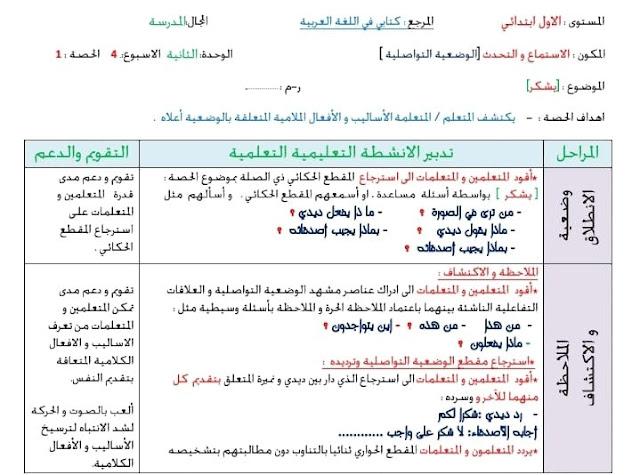 جذاذات الوضعية التواصلية الأسبوع 4 للوحدة 2 مرجع كتابي في اللغة العربية للمستوى الأول ابتدائي