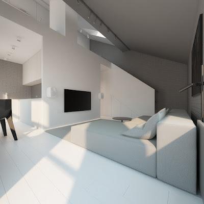 Desain Interior Ruang Tamu Abu-abu