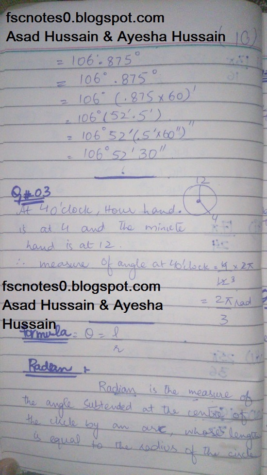 FSc ICS FA Notes Math Part 1 Chapter 9 Fundamentals of Trigonometry Exercise 9.1 Question 2 - 3 by Asad Hussain & Ayesha Hussain 3