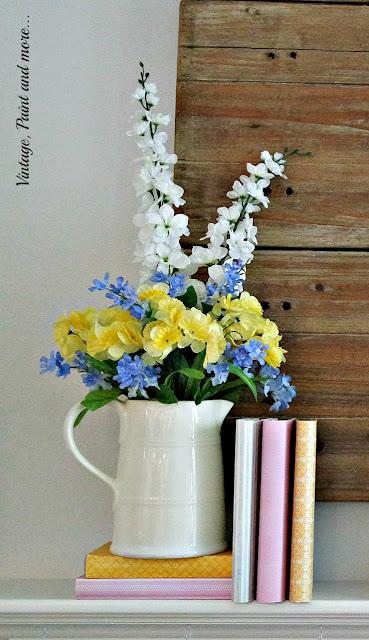 "Patel diy ""faux"" flower arrangement in a vintage ironstone pitcher for a pastel spring mantel"