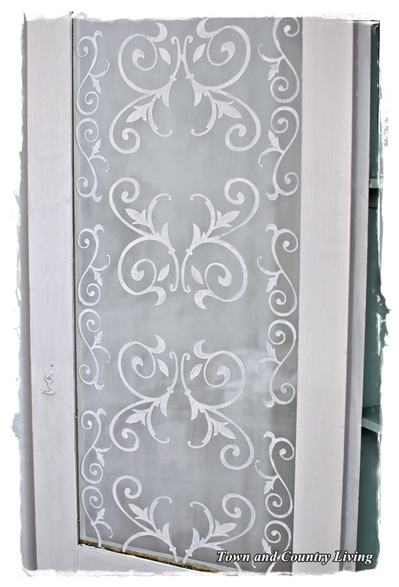 Stenciled Glass Cabinet Doors - Town & Country Living