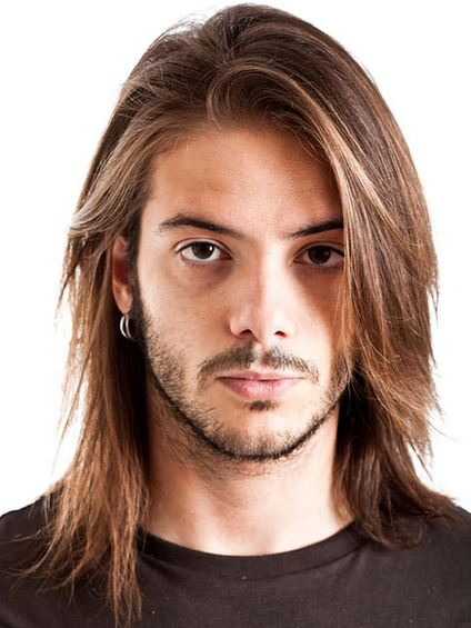 men long hair styling photo