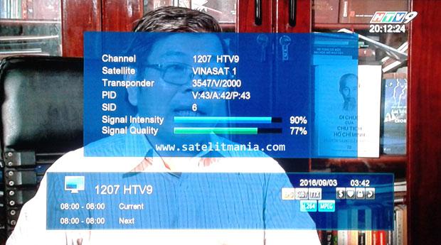 Frekuensi terbaru Channel HTV9 di satelit vinasat 1