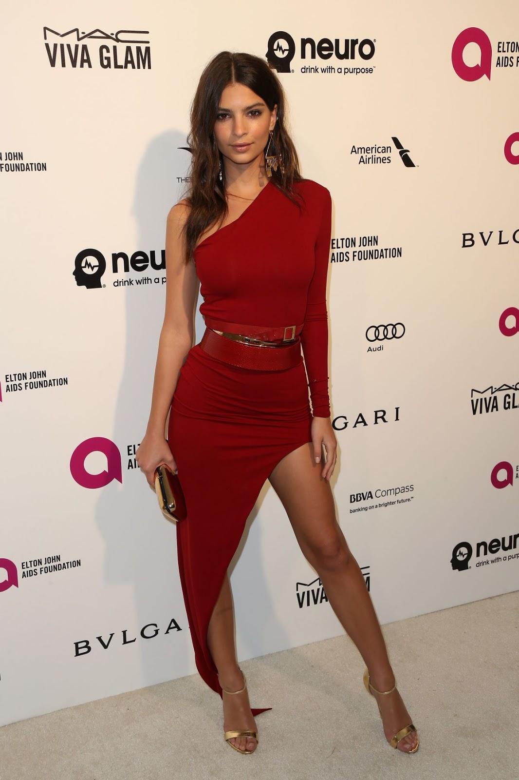 Entourage actress Emily Ratajkowski at Elton John Aids Foundation's Oscar Viewing Party