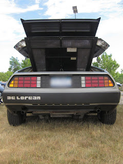 A photo of a engine compartment of a DeLorean