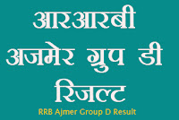 rrb ajmer group d result 2018 rrbajmer.gov.in group d result 2018