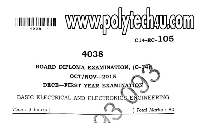 BASIC ELECTRICAL AND ELECTRONICS ENGINEERING PREVIOUS PAPERS OCT-NOV-2015