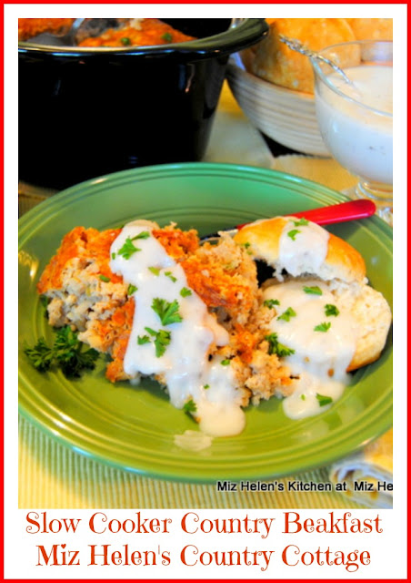 Country Breakfast with White Pepper Gravy and Biscuits at Miz Helen's Country Cottage