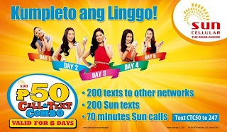 Sun CTC50 gives you Call and All net Text for 5 days
