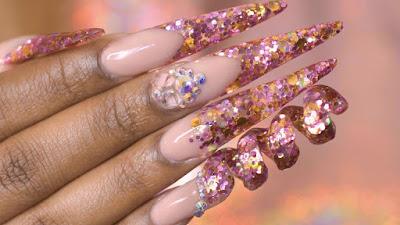 spiral acrylic nail design