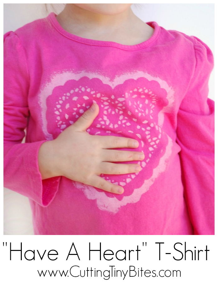 Easy DIY Valentine's Day heart t-shirt for toddlers, preschoolers, or older children to make.