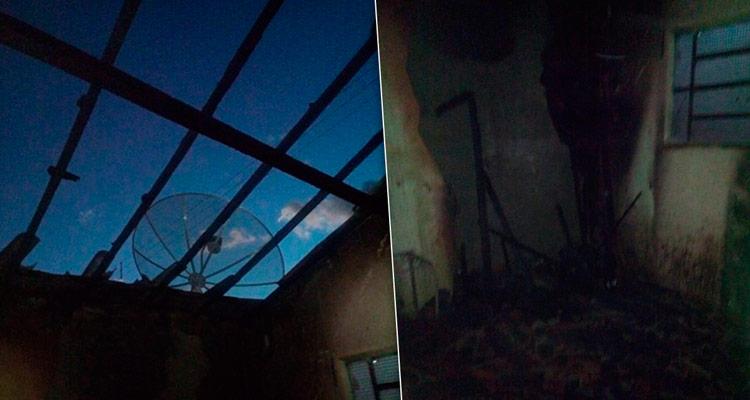 O telhado, móveis, roupas e documentes foram destruídos