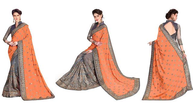 Pragati Fashion Hub Embroidered Bollywood Satin, Net Saree  (Orange, Beige)