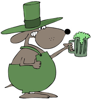 Clipart Image of a Cartoon St. Patrick's Day Dog Holding a Mug of Green Beer