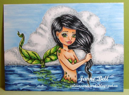 mermaid colouring on colours n cards