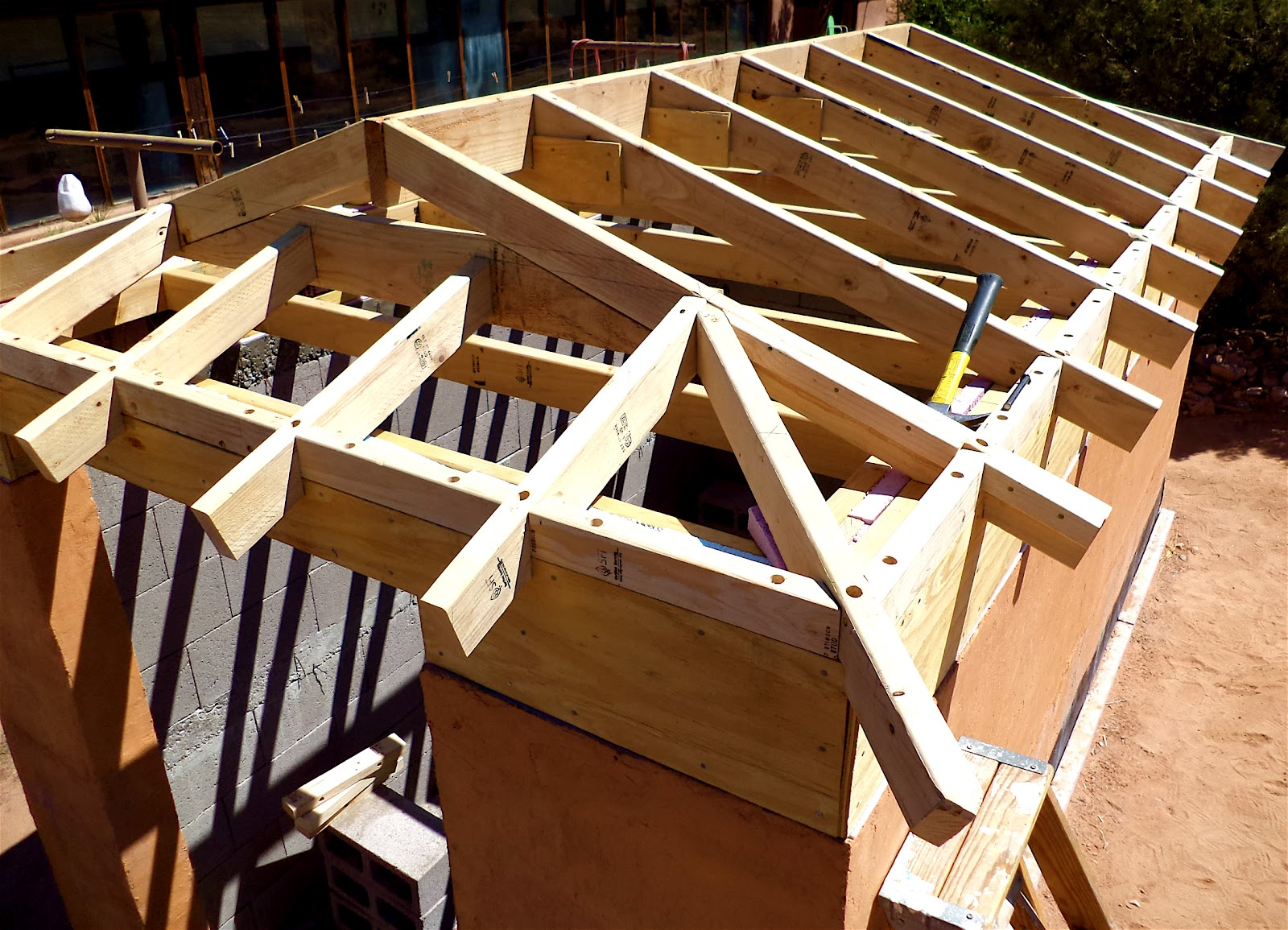 Alt build blog building a well house 4 framing the hip for House roof construction