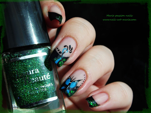 nail art french et papillon2