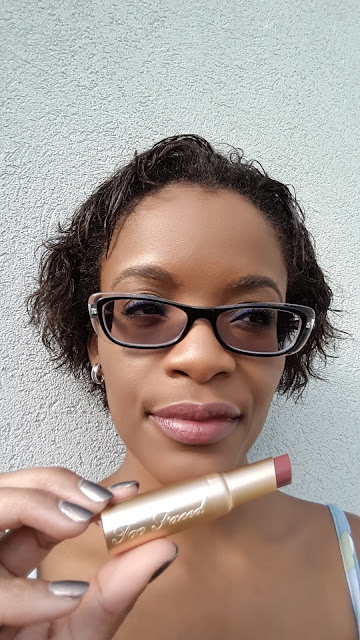 Too Faced La Creme Color Drenched Lipstick 'Pink Chocolate' swatch www.modenmakeup.com