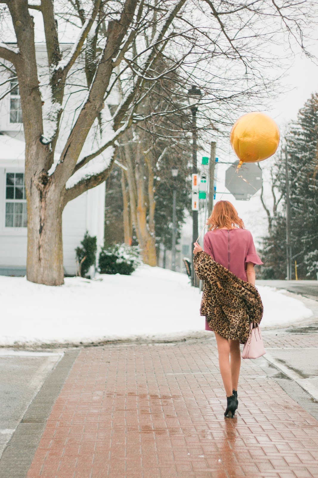 DVF leopard coat, Pink Simons dress,  Michael Kors black ankle booties, Blog Tips, Blog Help,Gold Balloons