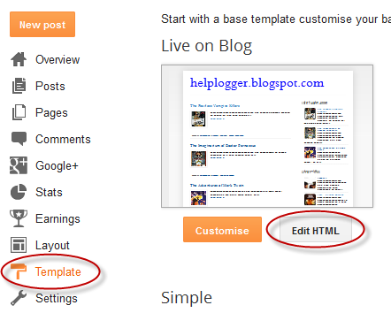 template blogger, edit html