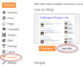 edit the html of blogger template