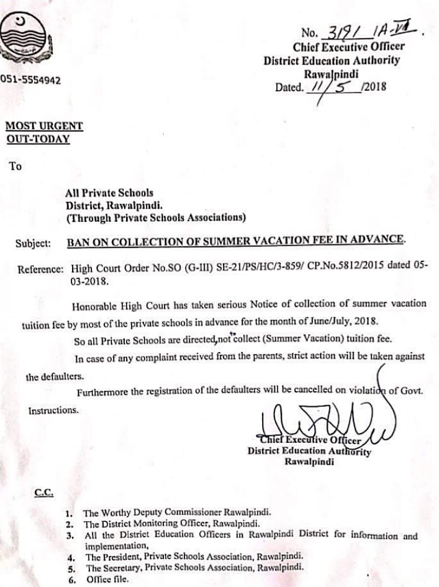 BAN ON COLLECTION OF SUMMER VACATION FEE IN ADVANCE