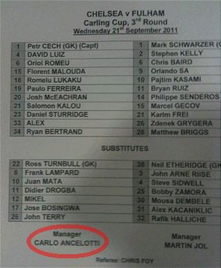 Chelsea's team sheet gaffe against Fulham