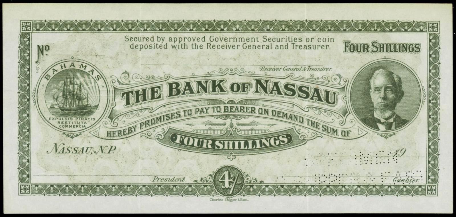 Banknotes of the Bank of Nassau Bahamas 4 Shillings