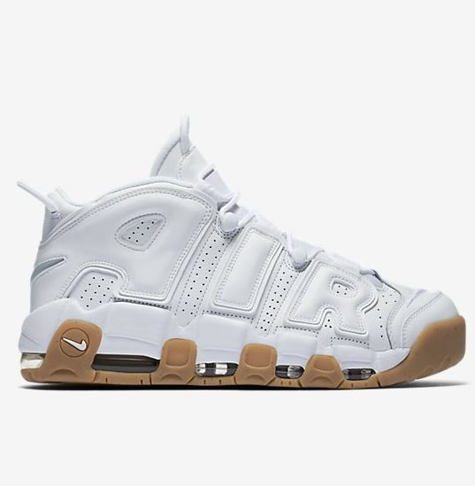 290d1524429 ... Nike Air More Uptempo White Gum Sneaker Available at 10am EST HERE at  Footlocker + HERE at Eastbay. These feature a white leather upper with your  air ...